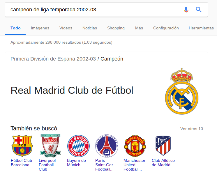 campeon de liga temporada 2002 03 Google