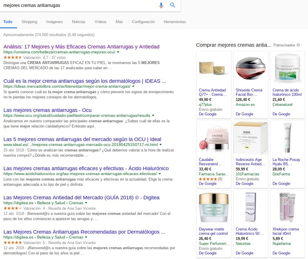 mejores cremas antiarrugas Google