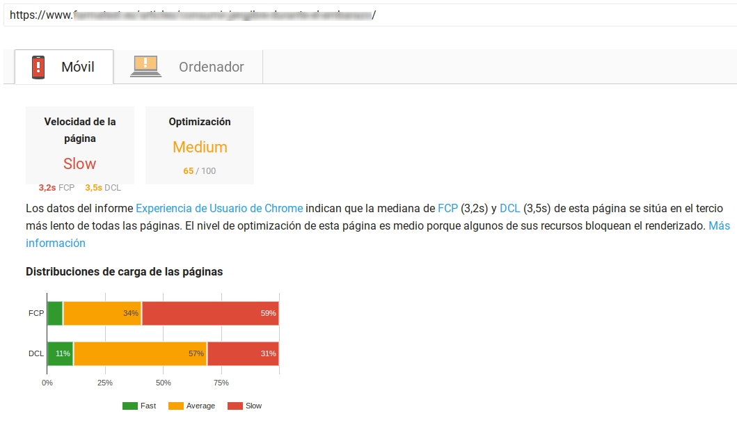 PageSpeed Insights metricas de sitio no afectado por speed update google