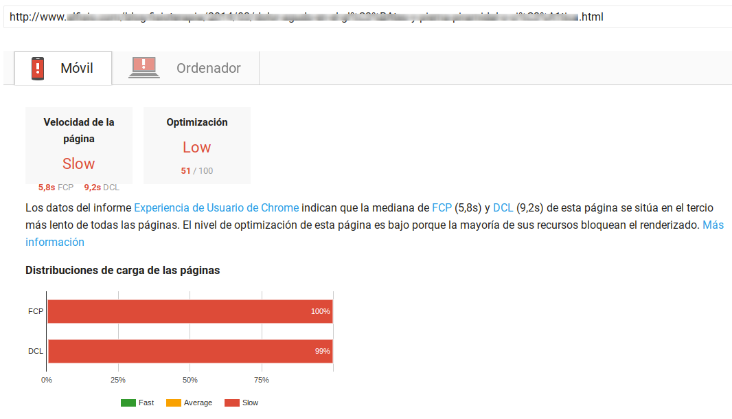 pagespeed insights metricas 100 tercio lento