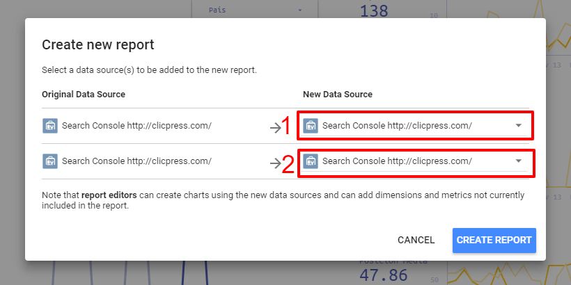elegir fuente de datos en search console data studio 1