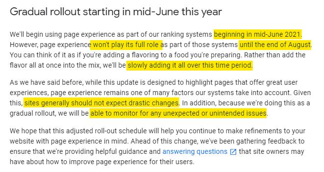 fechas de lanzamiento del page experience update segun anuncio de google