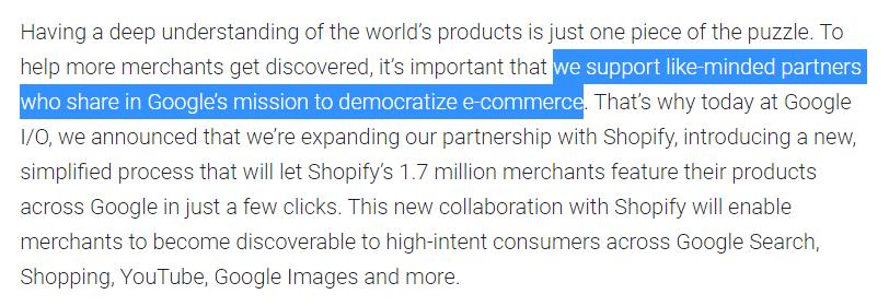 anuncio alianza google shopify