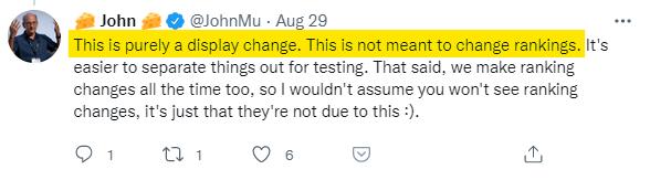 tuit de john muller sobre cambio de titles no afecta a rankings